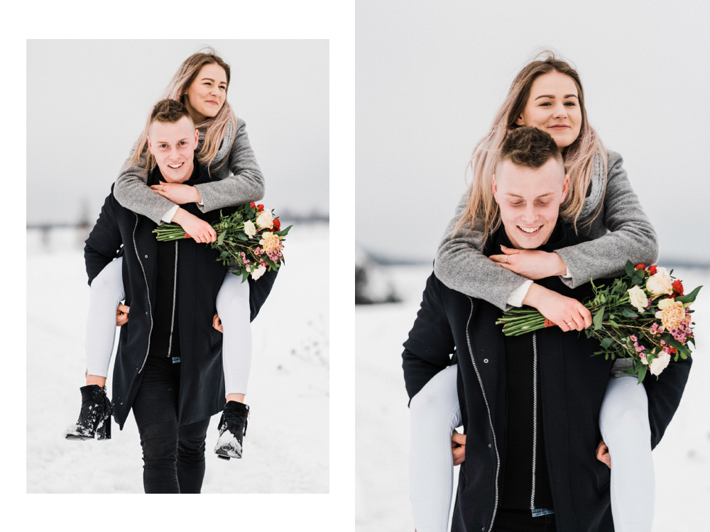Sesja narzeczenska w zimie krakow